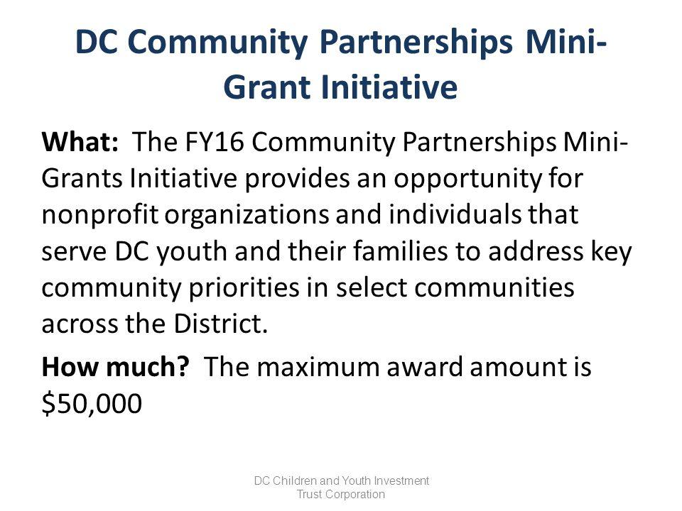 FY16 DC Trust Community Partnerships Mini-Grants Initiative