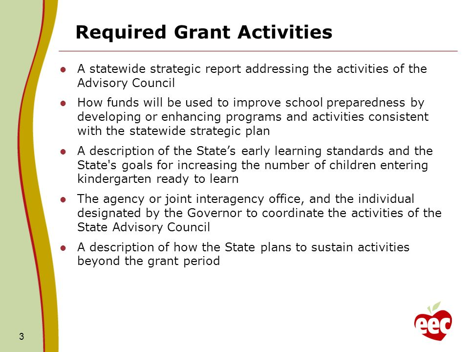 Required Grant Activities A statewide strategic report addressing the activities of the Advisory Council How funds will be used to improve school preparedness by developing or enhancing programs and activities consistent with the statewide strategic plan A description of the State's early learning standards and the State s goals for increasing the number of children entering kindergarten ready to learn The agency or joint interagency office, and the individual designated by the Governor to coordinate the activities of the State Advisory Council A description of how the State plans to sustain activities beyond the grant period 3