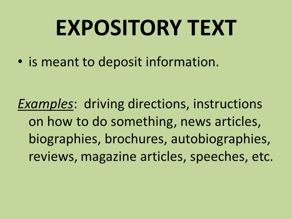 expository text definition and example