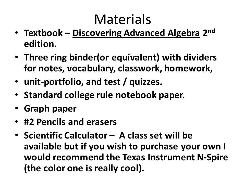 Welcome Advanced Algebra 2 Honors, Fall 2015 William