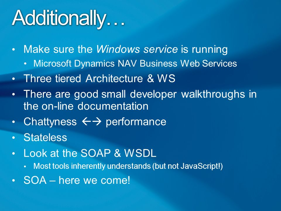 Microsoft Dynamics NAV 2009 Building Web Services  - ppt download