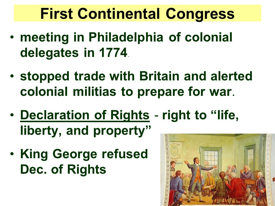 First Continental Congress meeting in Philadelphia of colonial delegates in 1774.