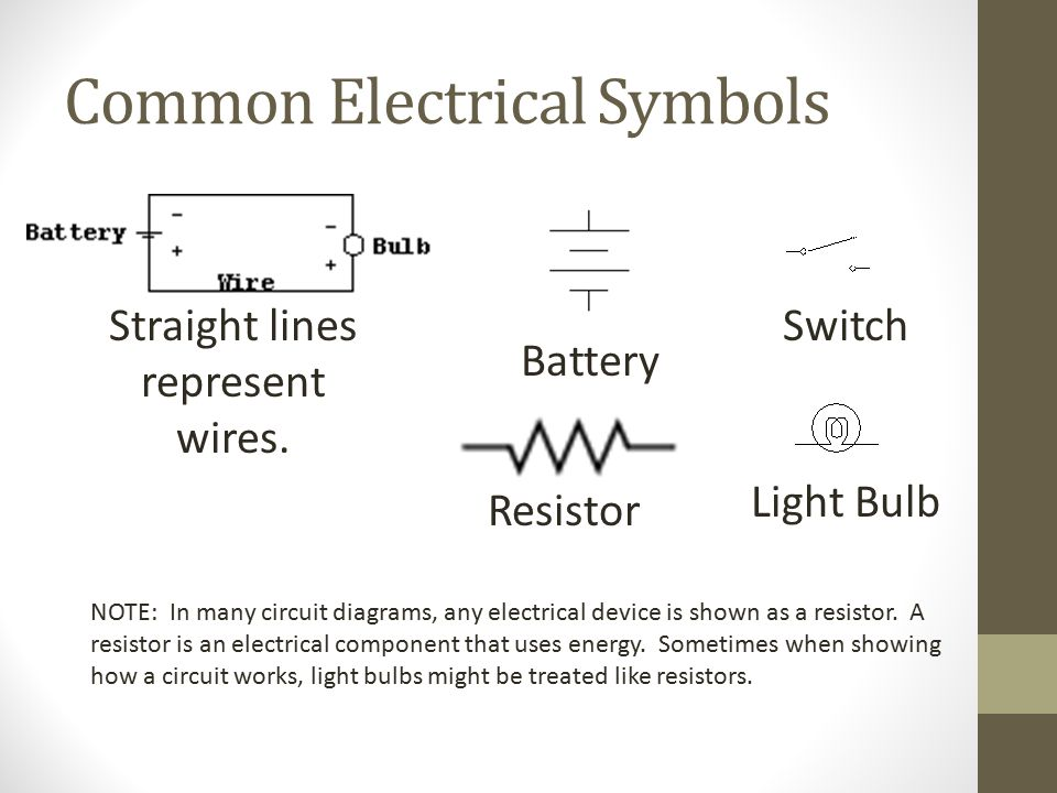 common electrical symbols straight lines represent wires