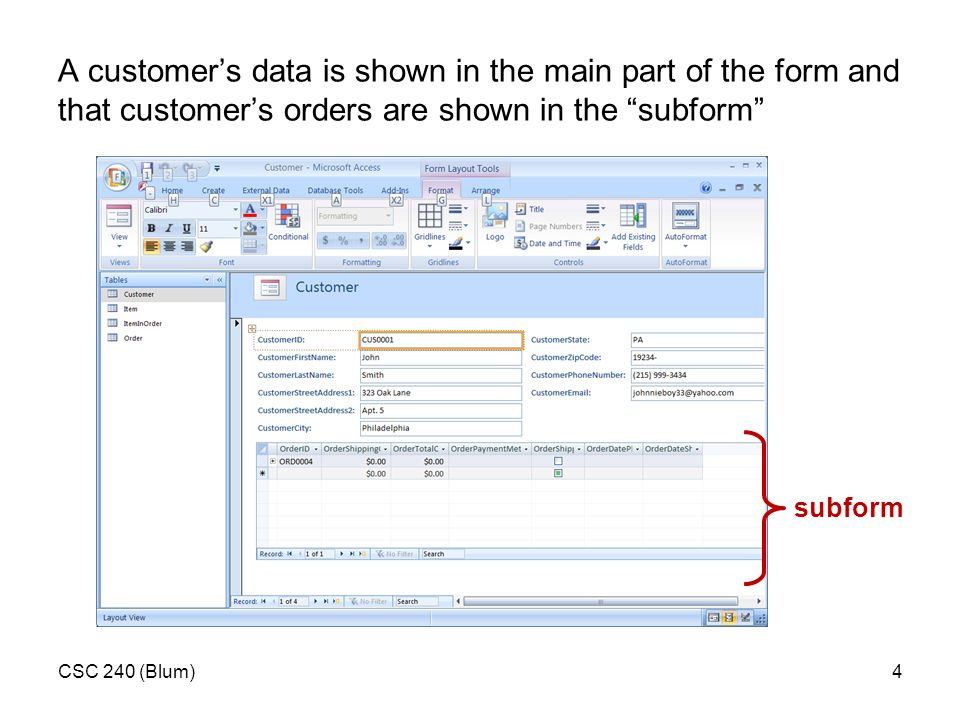 CSC 240 (Blum)1 Forms and Importing Data in Access  - ppt download