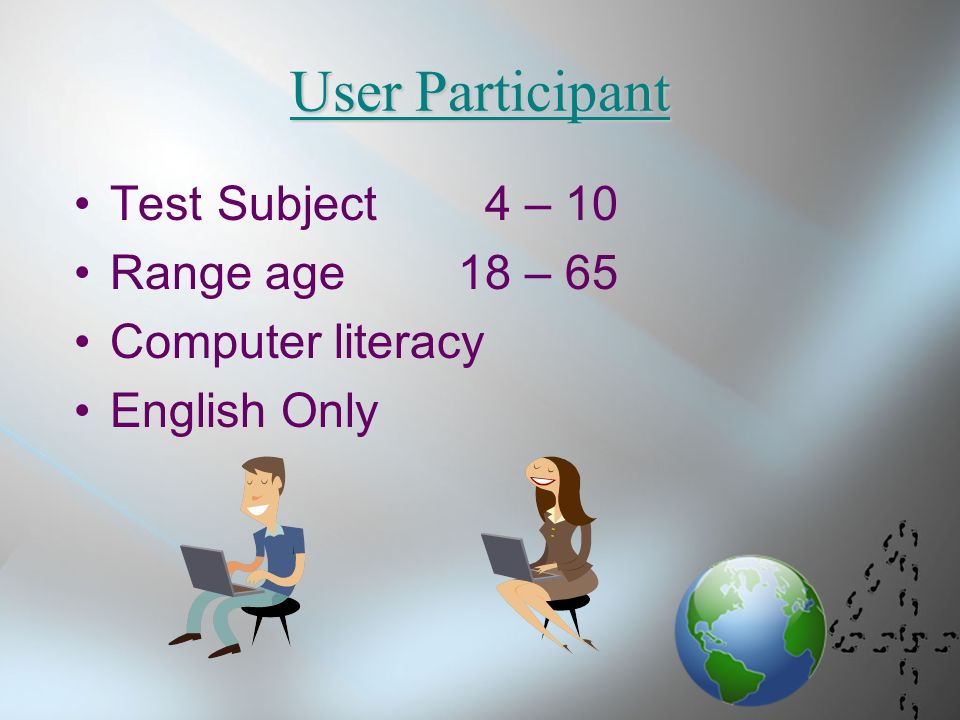 4 User Partint Test Subject 10 Range Age 18 65 Computer Literacy English Only
