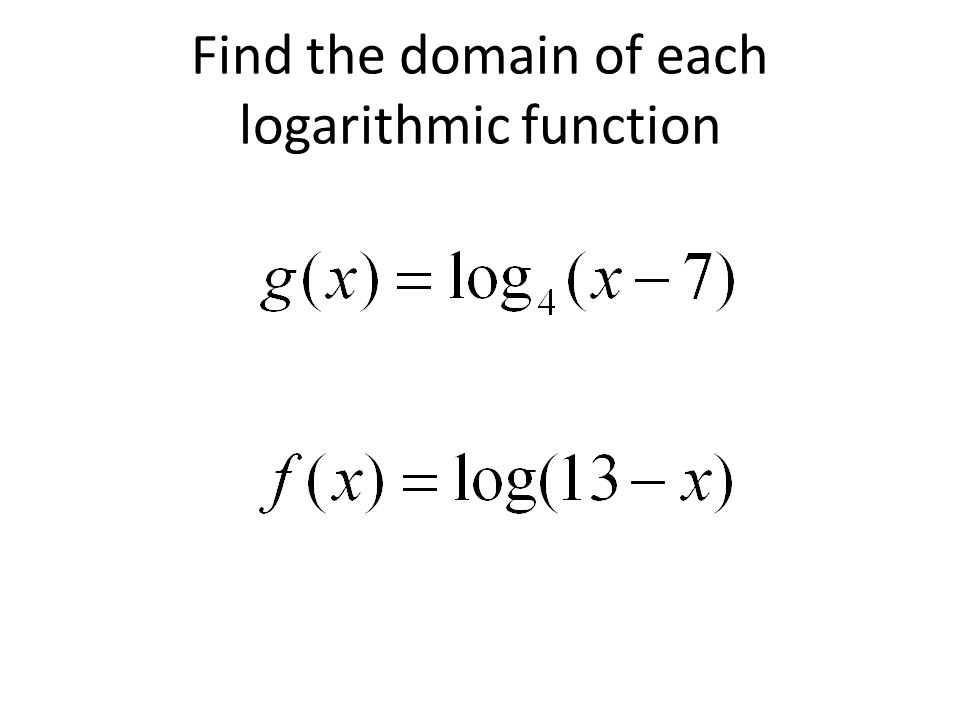 Find the domain of each logarithmic function