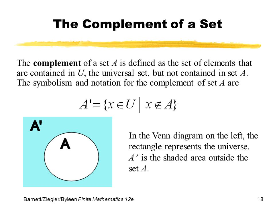 Chapter 7 logic sets and counting section 2 sets ppt download 18 barnettzieglerbyleen finite mathematics 12e the complement of a set the complement ccuart Images