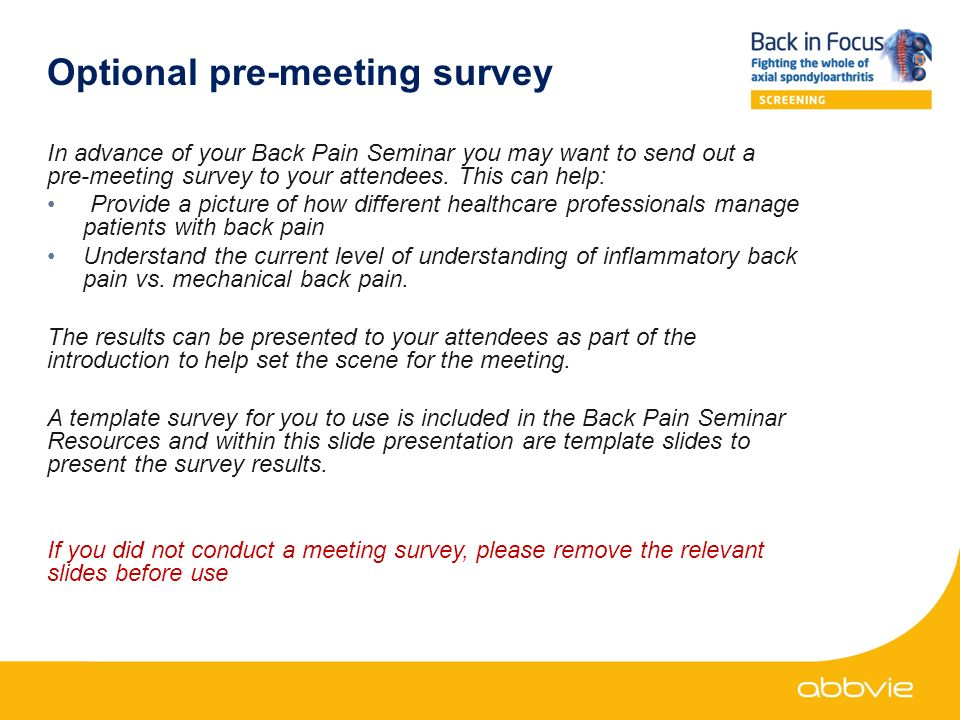 This back in focus resource was developed and funded by abbvie date optional pre meeting survey in advance of your back pain seminar you may want to maxwellsz