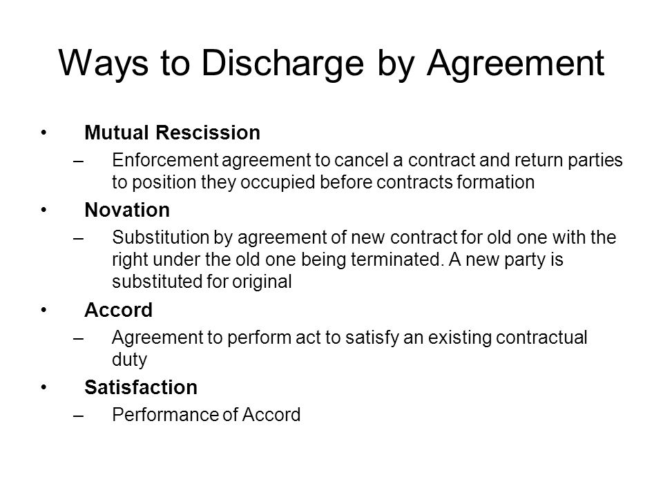 Contract Law Presentation Ways To End Contracts Tender Tender Is An