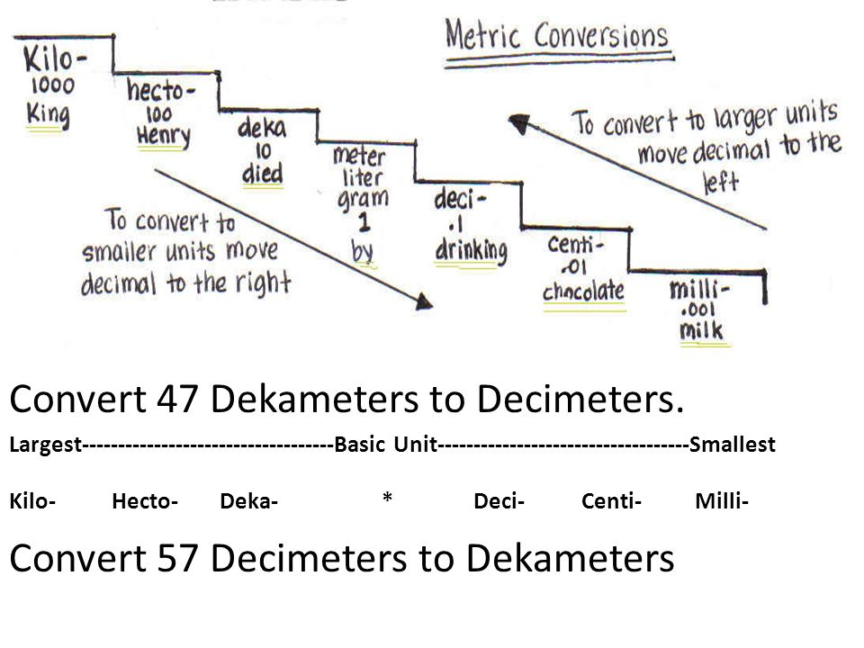 Convert 47 Dekameters to Decimeters.