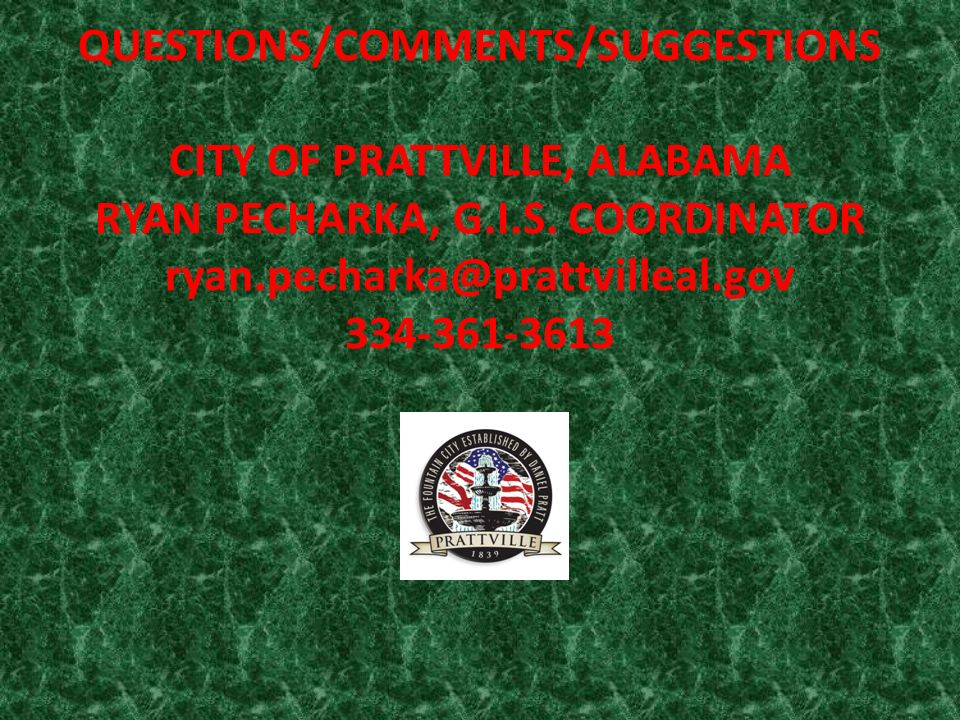 CITY OF PRATTVILLE, AL ADDRESSING Geospatial Data Structure