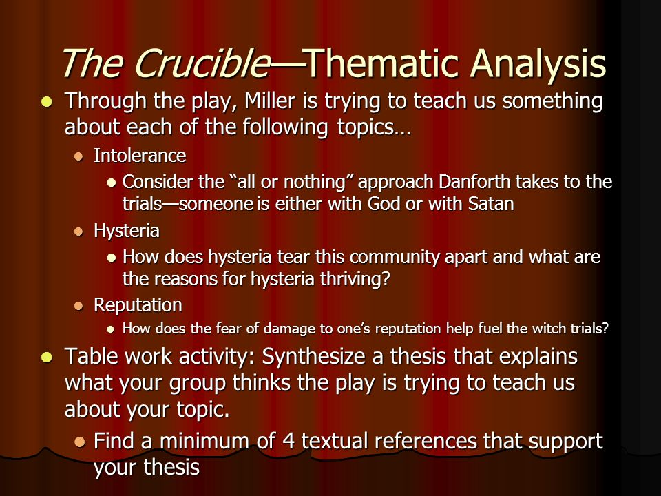 what does the crucible teach us