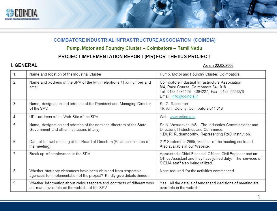 1 COIMBATORE INDUSTRIAL INFRASTRUCTURE ASSOCIATION (COINDIA) Pump ...