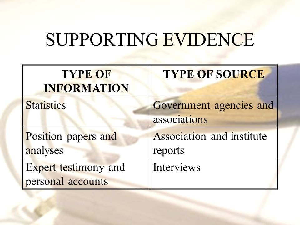 SUPPORTING EVIDENCE TYPE OF INFORMATION TYPE OF SOURCE StatisticsGovernment agencies and associations Position papers and analyses Association and institute reports Expert testimony and personal accounts Interviews