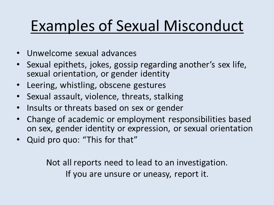 Sexual misconduct in the workplace