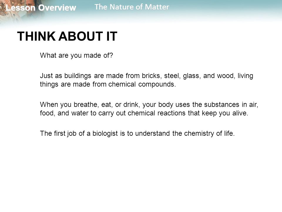 Lesson Overview Lesson Overview The Nature of Matter THINK ABOUT IT What are you made of.