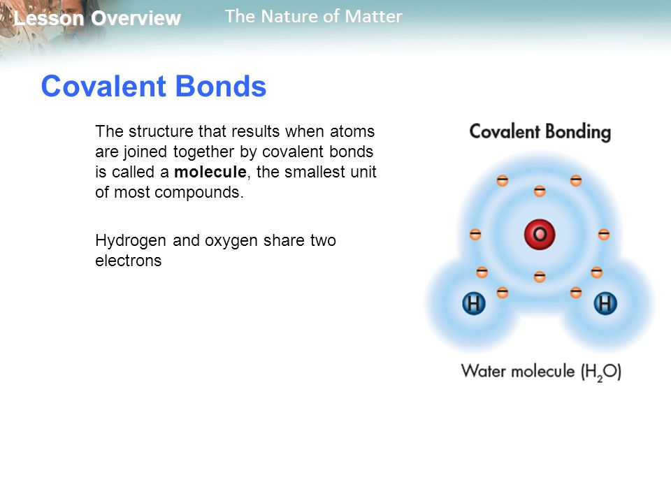 Lesson Overview Lesson Overview The Nature of Matter Covalent Bonds The structure that results when atoms are joined together by covalent bonds is called a molecule, the smallest unit of most compounds.