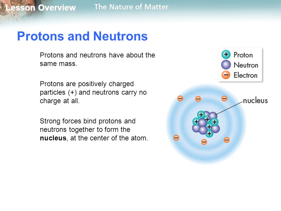 Lesson Overview Lesson Overview The Nature of Matter Protons and Neutrons Protons and neutrons have about the same mass.