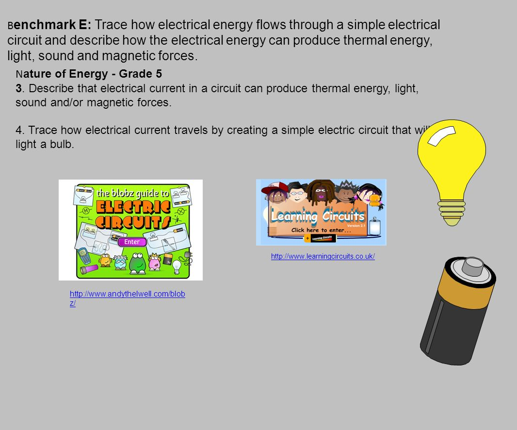 P Hysical Sciences Students Demonstrate An Understanding Of The Blobz Guide Teach Simple Electronic Circuits To Children B Enchmark E Trace How Electrical Energy Flows Through A Circuit And Describe