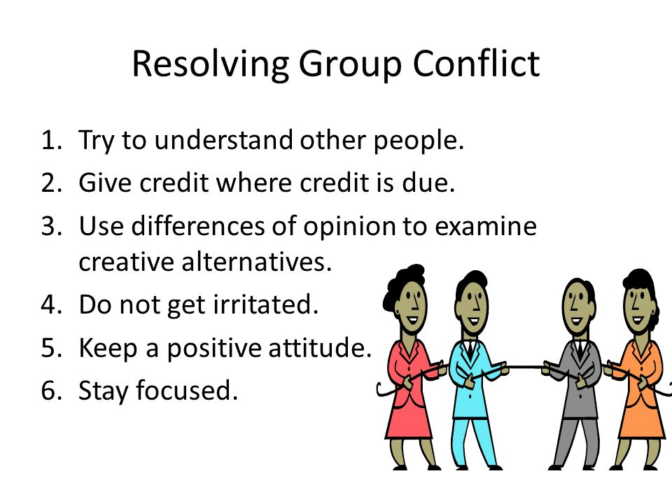 Resolving Group Conflict 1.Try to understand other people.