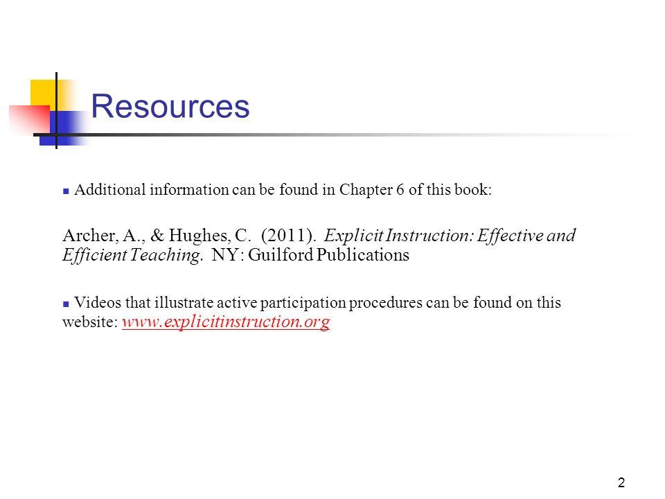 1 Explicit Instruction A Tool To Maximize Student Achievement Part