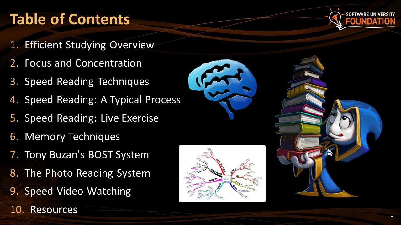 Efficient Study Techniques Speed Reading, Memory Techniques