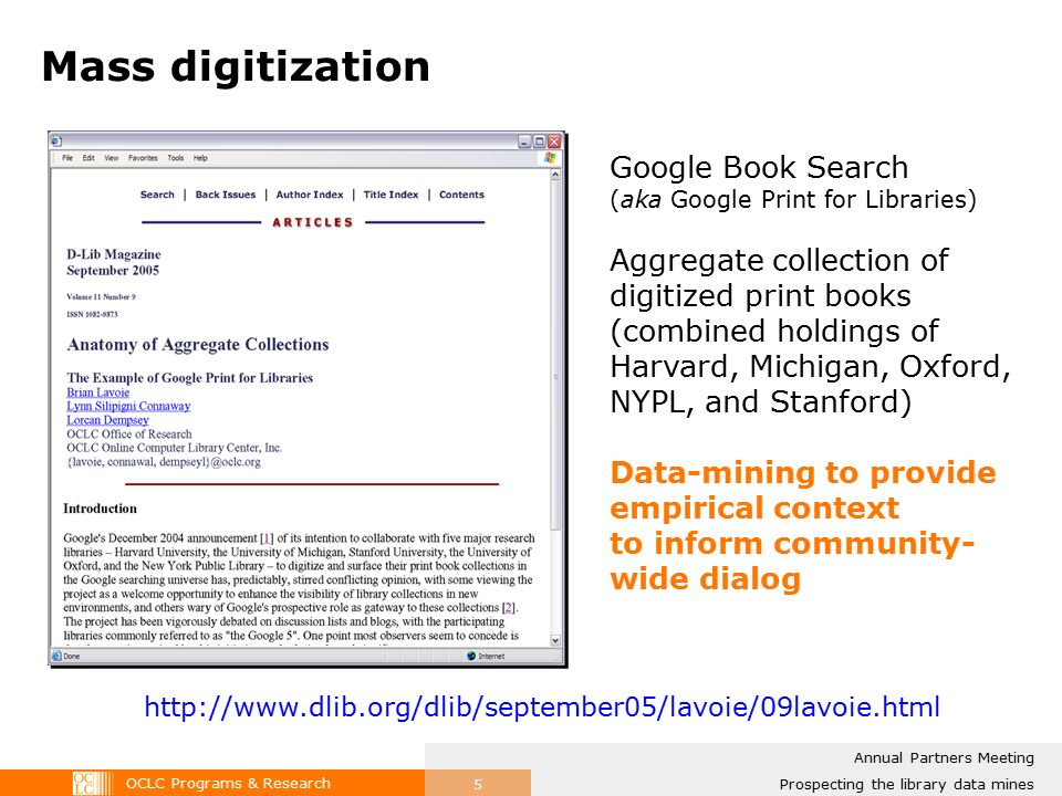 OCLC Programs & Research Prospecting in the library data