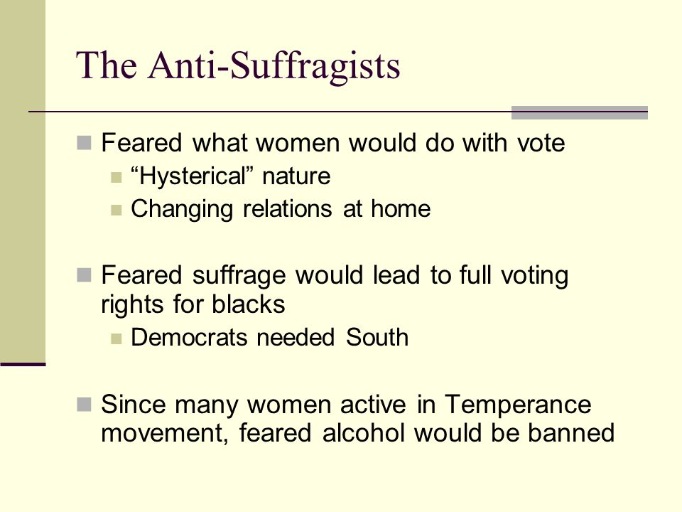 The Anti-Suffragists Feared what women would do with vote Hysterical nature Changing relations at home Feared suffrage would lead to full voting rights for blacks Democrats needed South Since many women active in Temperance movement, feared alcohol would be banned