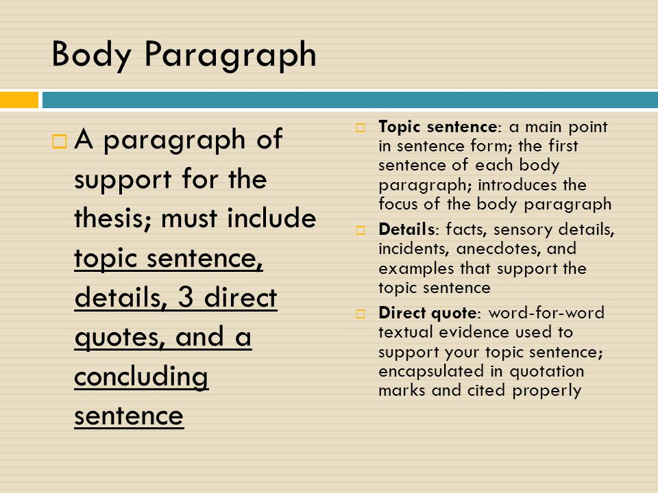 Body Paragraph  A paragraph of support for the thesis; must include topic sentence, details, 3 direct quotes, and a concluding sentence  Topic sentence: a main point in sentence form; the first sentence of each body paragraph; introduces the focus of the body paragraph  Details: facts, sensory details, incidents, anecdotes, and examples that support the topic sentence  Direct quote: word-for-word textual evidence used to support your topic sentence; encapsulated in quotation marks and cited properly