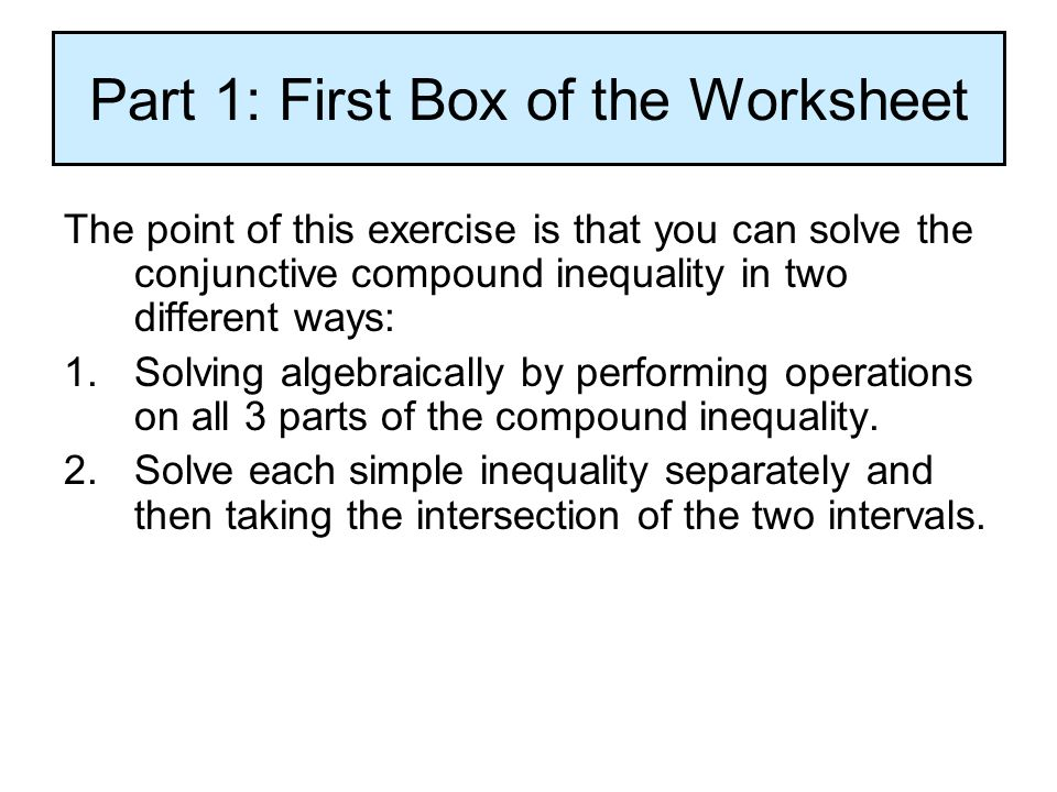 Printable Worksheets compound inequality worksheets 1.6 Solving Compound Inequalities Understanding that conjunctive ...