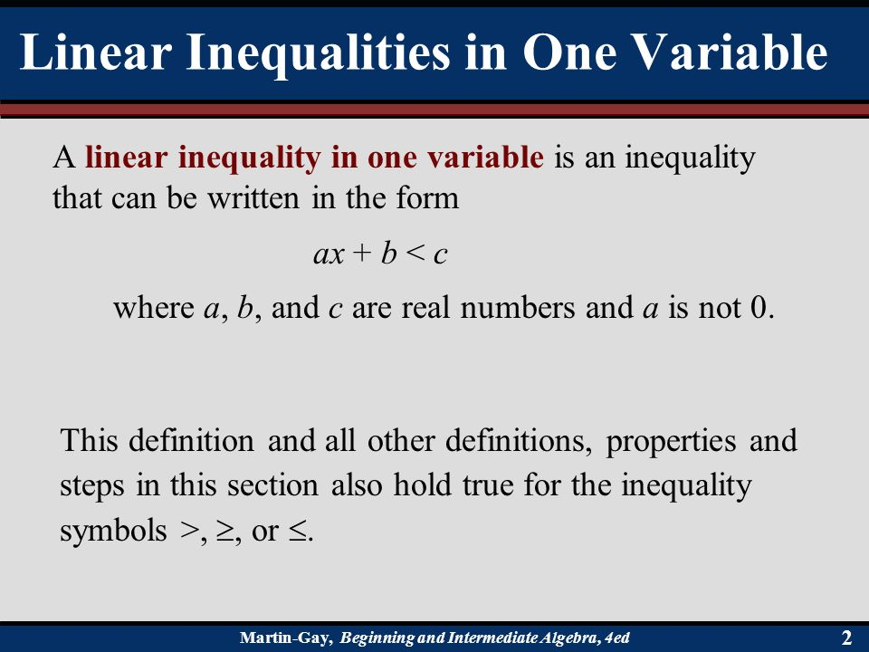 28 Solving Linear Inequalities Martin Gay Beginning And
