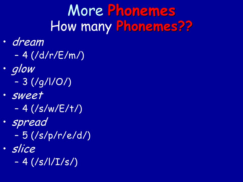 Phonemes More Phonemes Phonemes . How many Phonemes .