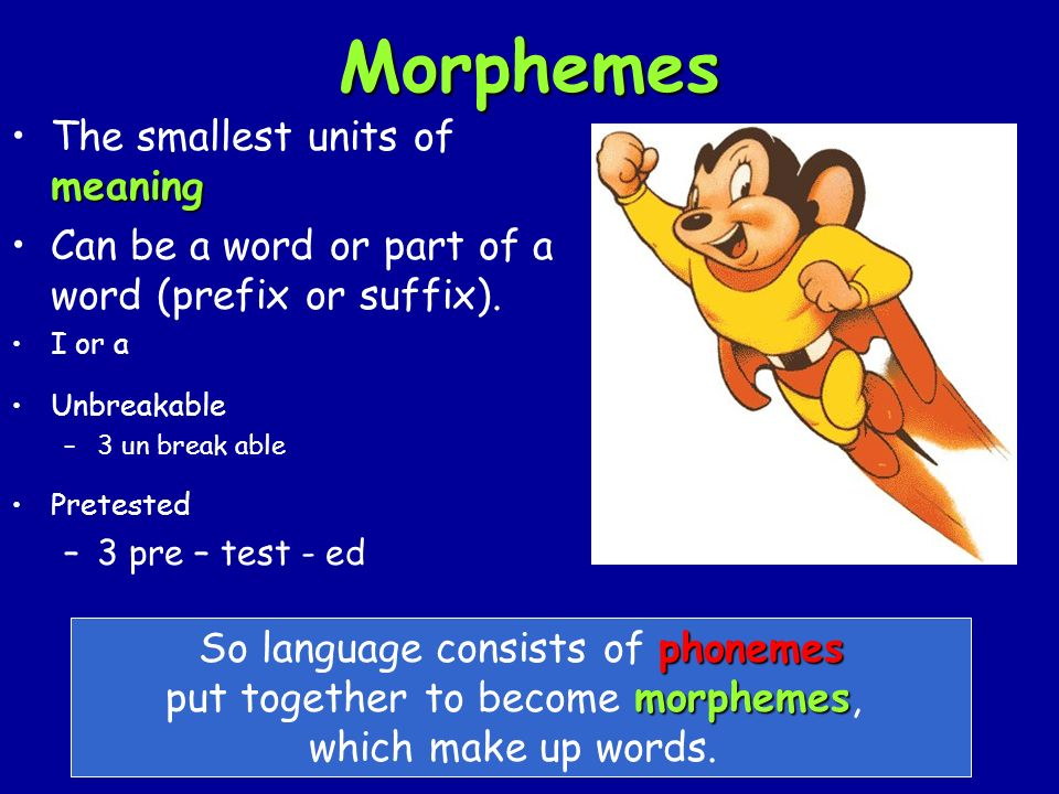 Morphemes meaningThe smallest units of meaning Can be a word or part of a word (prefix or suffix).