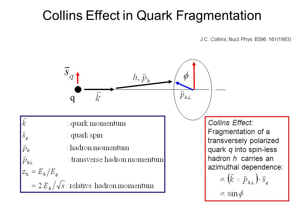 Collins Effect in Quark Fragmentation J.C. Collins, Nucl.