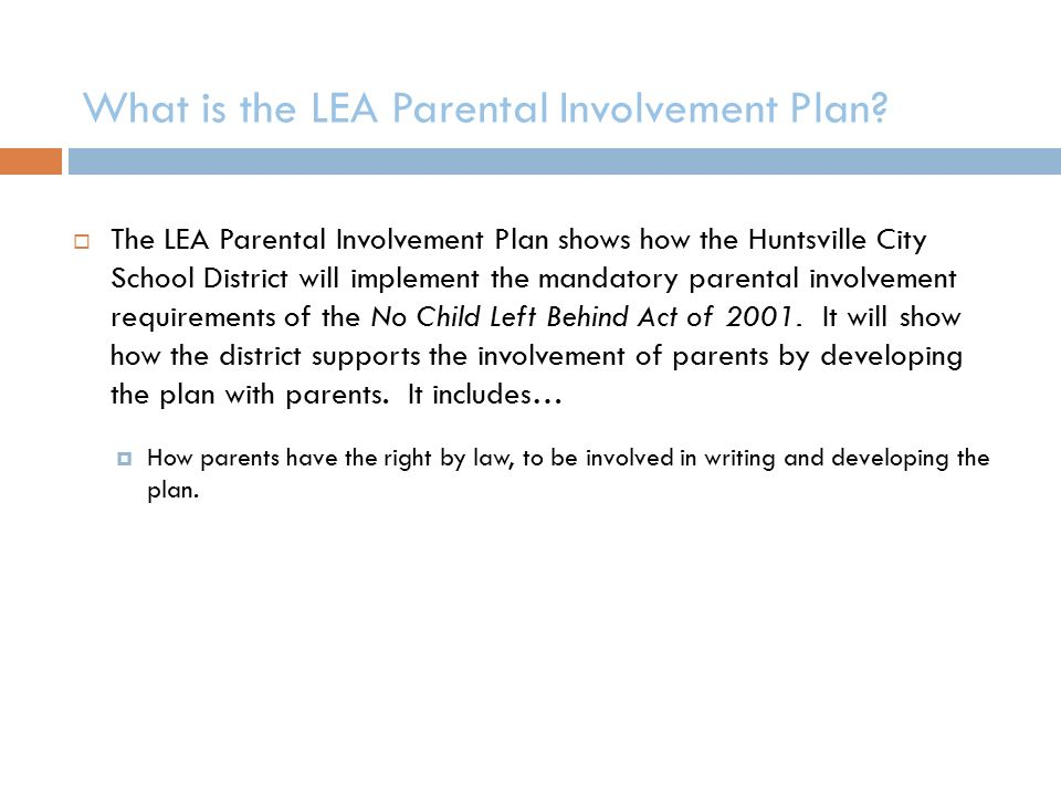 What is the LEA Parental Involvement Plan.