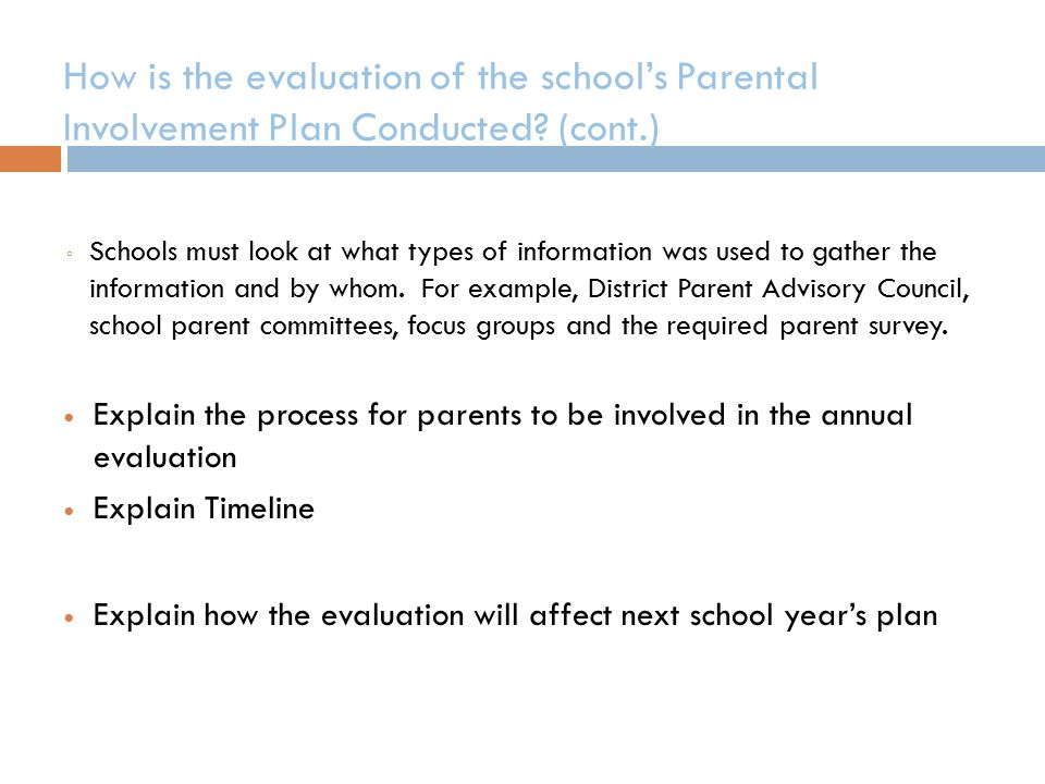 How is the evaluation of the school's Parental Involvement Plan Conducted.