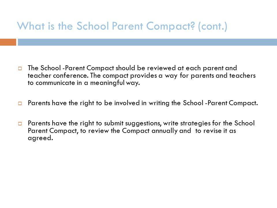 What is the School Parent Compact.