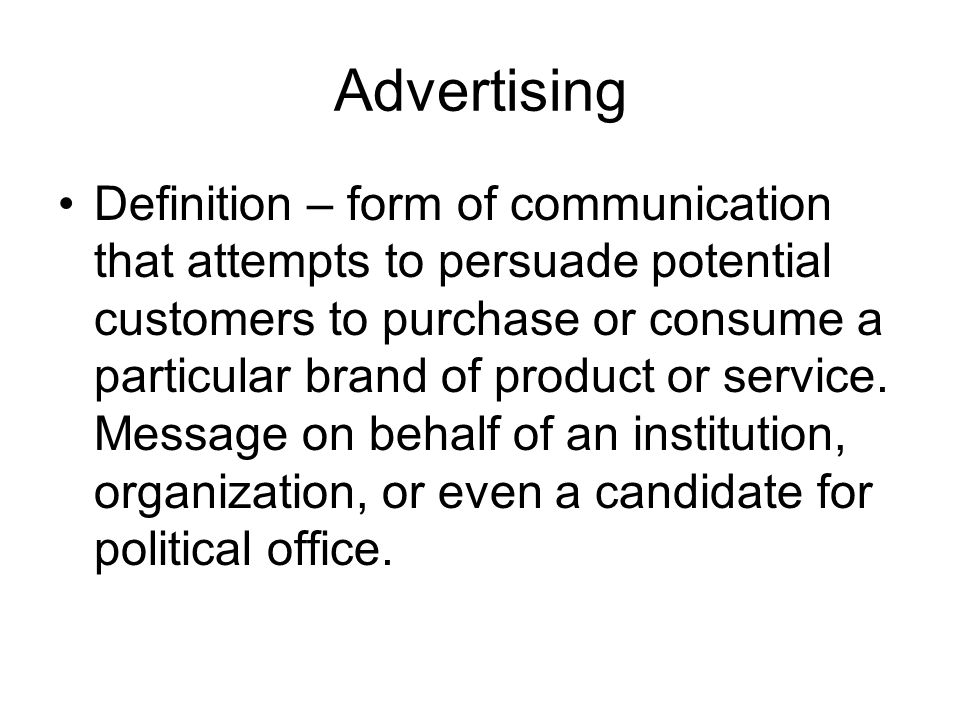 advertising form of communication Communication media in marketing is the collection of various media companies used to promote their products and services to customers traditional media types include print advertising in newspapers and magazines television and radio and direct mail, while digital media includes internet-based tactics like email and social media marketing.