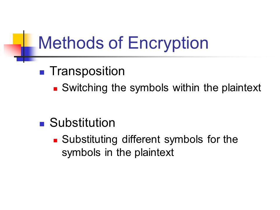 Cryptography Methods Of Encryption Transposition Switching The