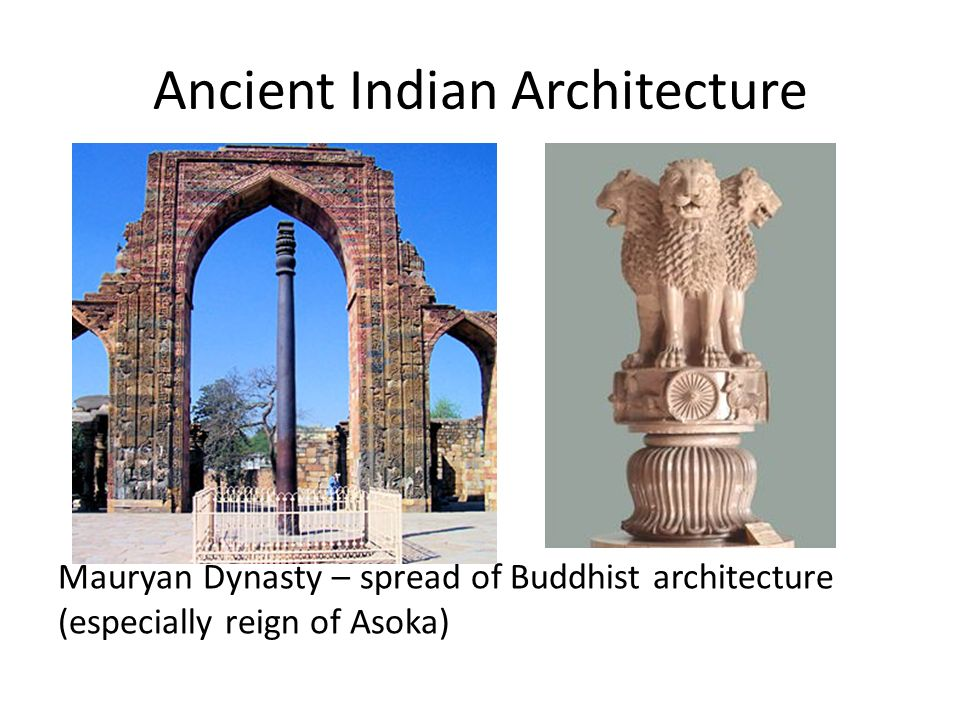 Ancient Indian Architecture Mauryan Dynasty – spread of Buddhist architecture (especially reign of Asoka)