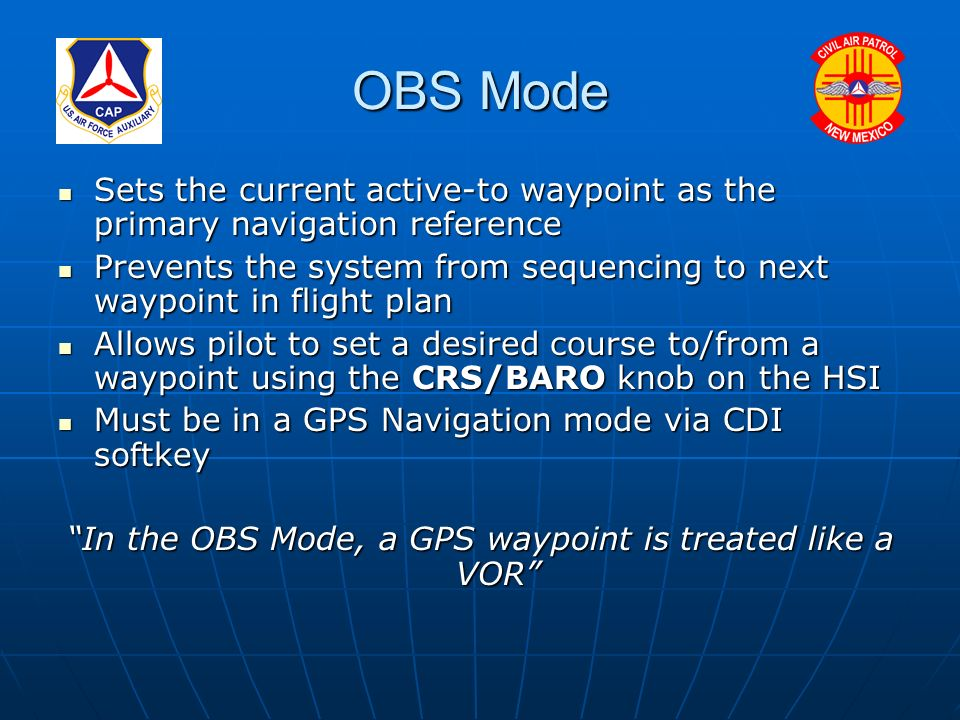 Using the G-1000 Omni-Bearing Selector (OBS) Mode for VFR