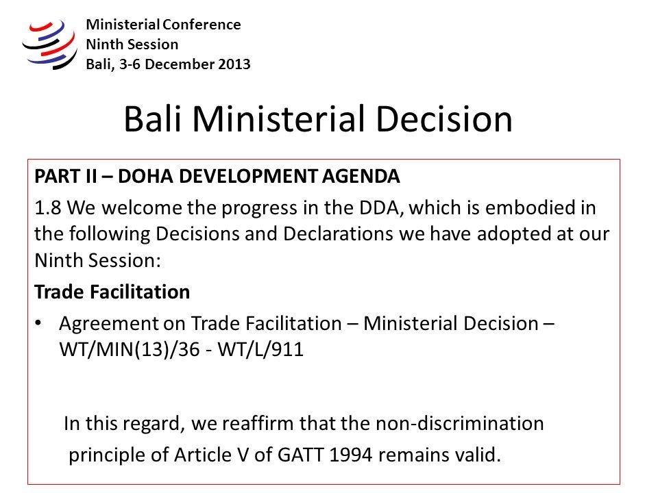 Samer Seif El Yazal Wto Bali Ministerial Decision Part Ii Doha