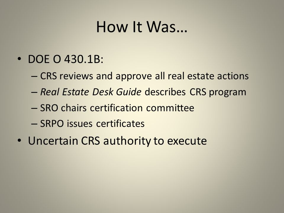 Department of Energy Real Estate Certification Program CRS, RECO ...