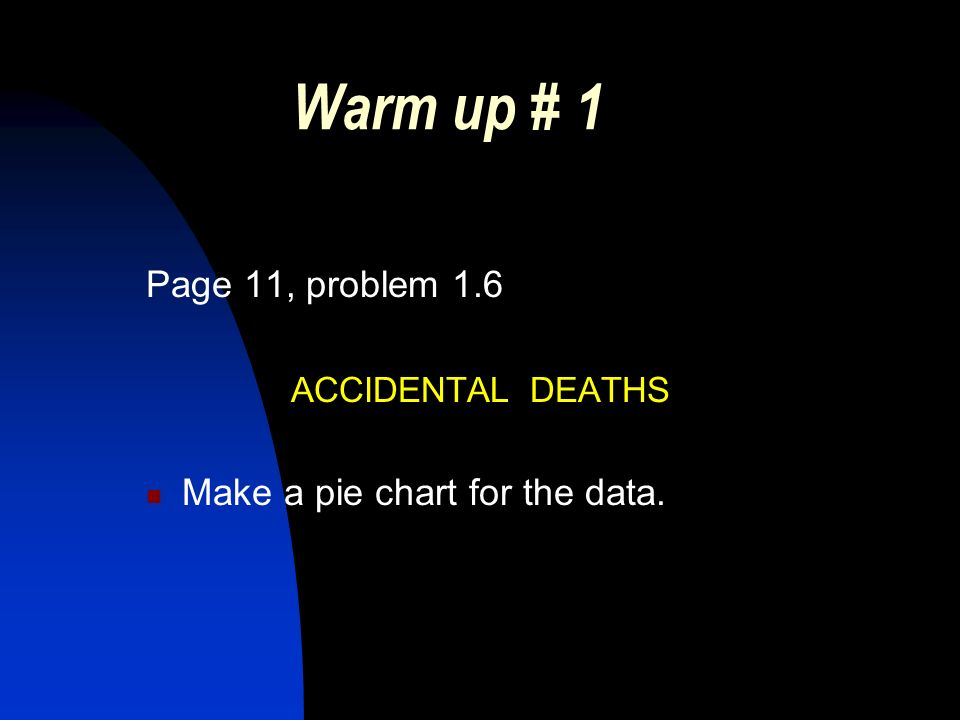 Warm up # 1 Page 11, problem 1.6 ACCIDENTAL DEATHS Make a pie chart for the data.