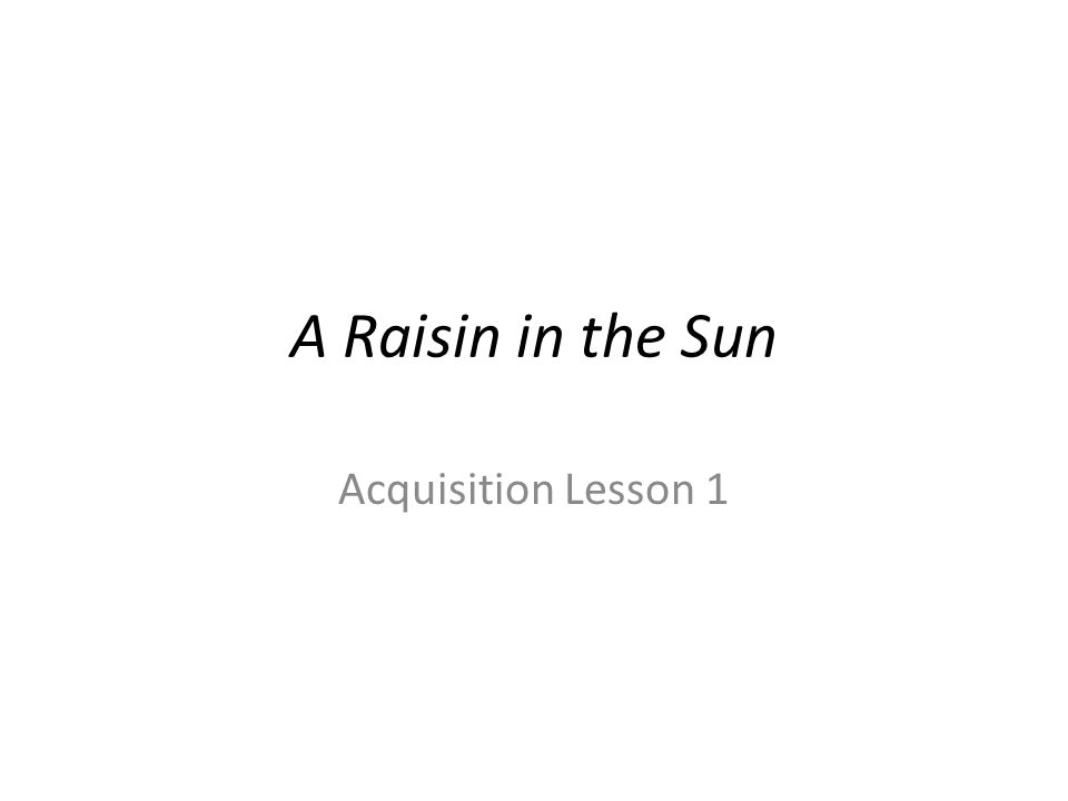 a raisin in the sun lesson