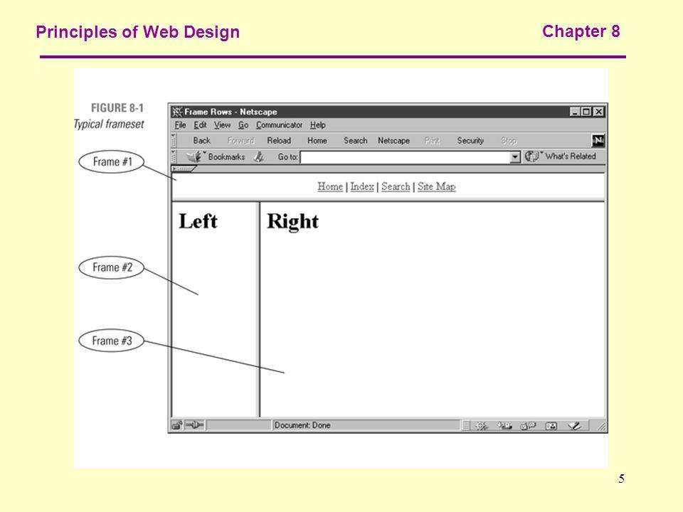 Chapter 8 HTML Frames. 2 Principles of Web Design Chapter 8 ...
