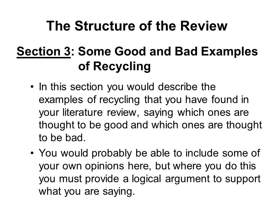 good example of a literature review