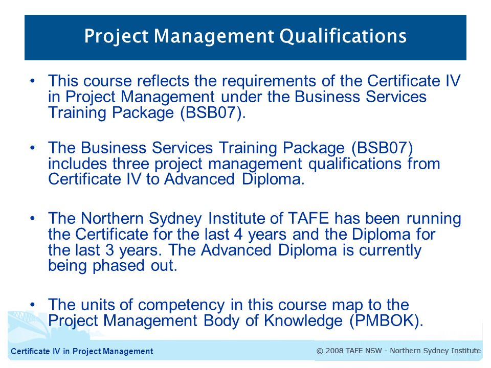 Certificate Iv In Project Management Certificate Iv In Project