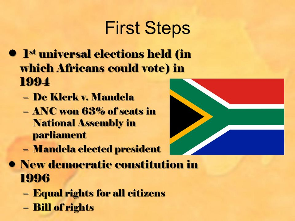 First Steps 1 st universal elections held (in which Africans could vote) in st universal elections held (in which Africans could vote) in 1994 –De Klerk v.