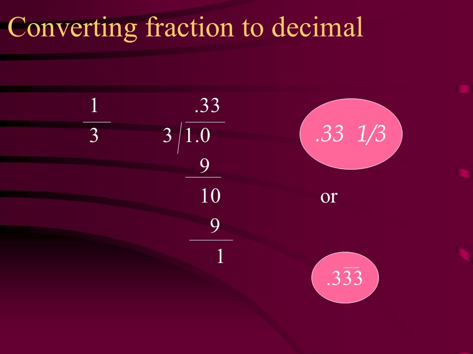 Converting fraction to decimal or /3